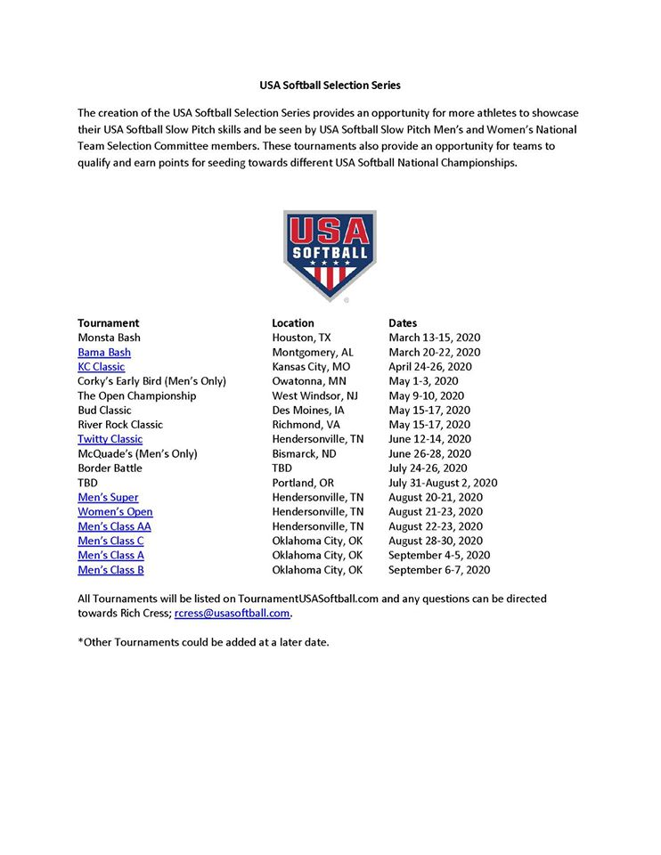 usa slection series dates